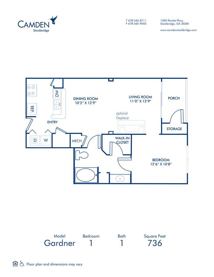 1 Bedroom 1 Bathroom Apartment for rent at Camden Stockbridge in Stockbridge, GA