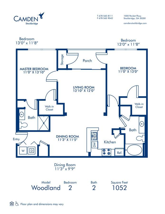 2 Bedrooms 2 Bathrooms Apartment for rent at Camden Stockbridge in Stockbridge, GA