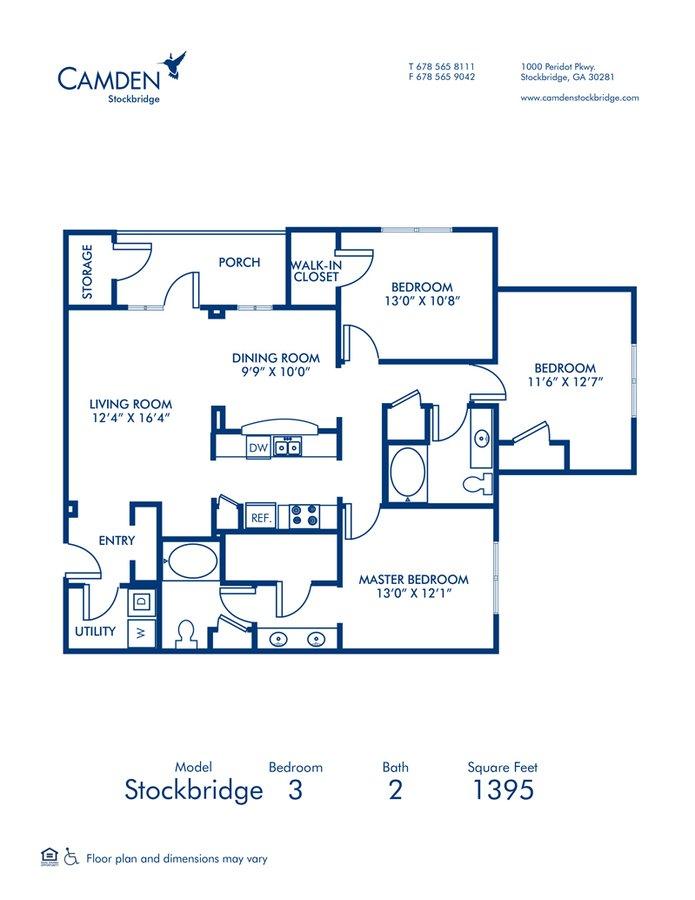 3 Bedrooms 2 Bathrooms Apartment for rent at Camden Stockbridge in Stockbridge, GA