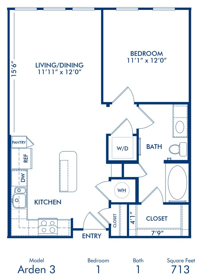 1 Bedroom 1 Bathroom Apartment for rent at Camden Belmont in Dallas, TX