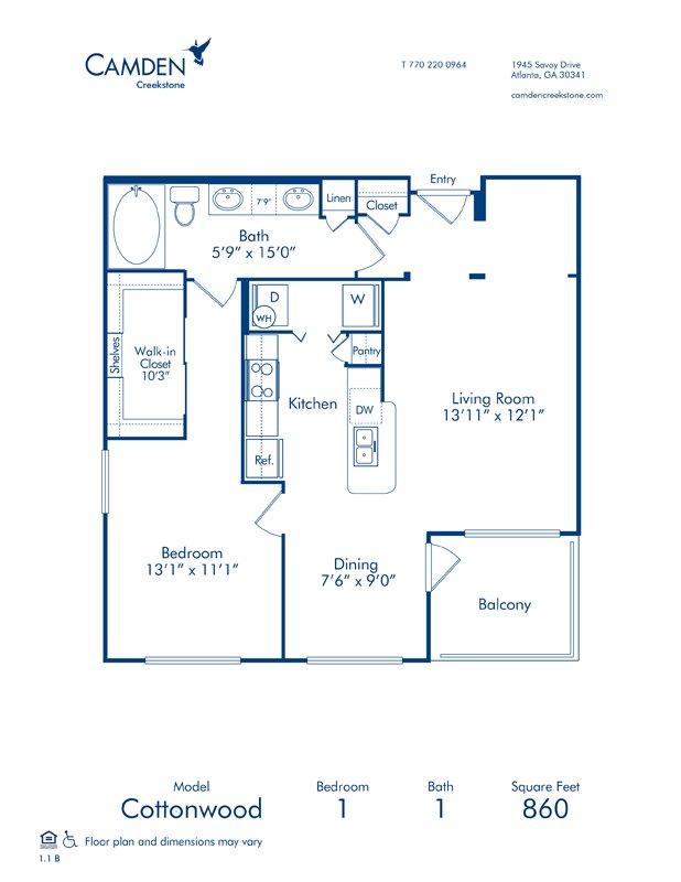 1 Bedroom 1 Bathroom Apartment for rent at Camden Creekstone in Atlanta, GA