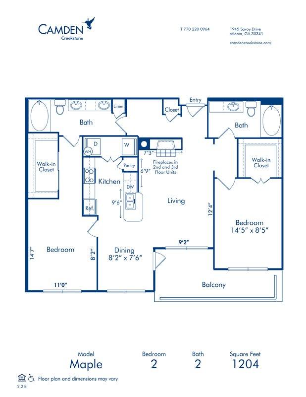 2 Bedrooms 2 Bathrooms Apartment for rent at Camden Creekstone in Atlanta, GA