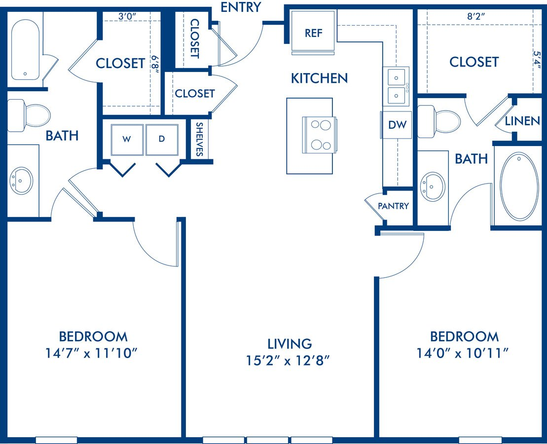 2 Bedrooms 2 Bathrooms Apartment for rent at Camden Henderson in Dallas, TX