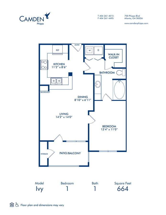 1 Bedroom 1 Bathroom Apartment for rent at Camden Phipps in Atlanta, GA