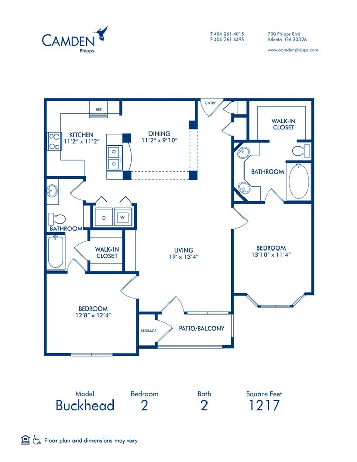 2 Bedrooms 2 Bathrooms Apartment for rent at Camden Phipps in Atlanta, GA