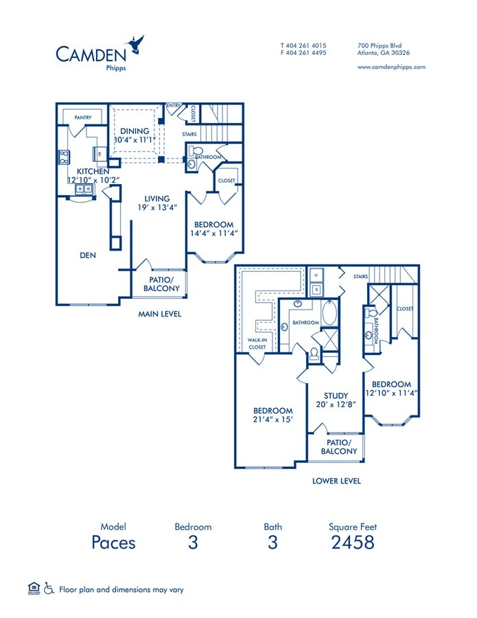 3 Bedrooms 3 Bathrooms Apartment for rent at Camden Phipps in Atlanta, GA