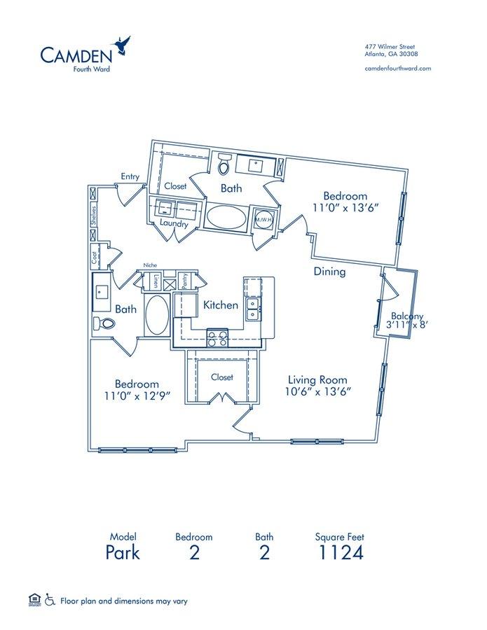 2 Bedrooms 2 Bathrooms Apartment for rent at Camden Fourth Ward in Atlanta, GA