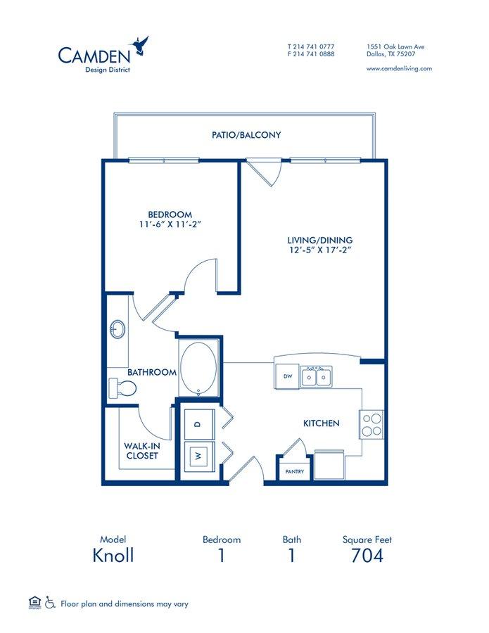 1 Bedroom 1 Bathroom Apartment for rent at Camden Design District in Dallas, TX