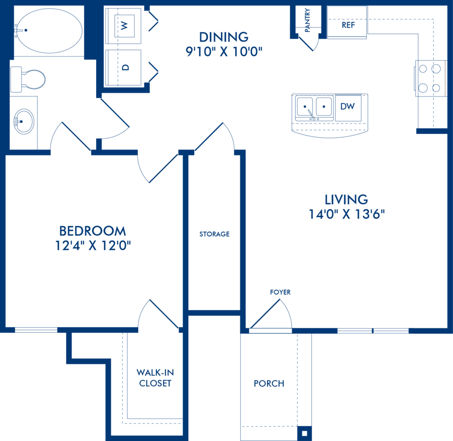 1 Bedroom 1 Bathroom Apartment for rent at Camden Shadow Brook in Austin, TX