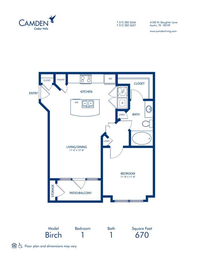 1 Bedroom 1 Bathroom Apartment for rent at Camden Cedar Hills in Austin, TX
