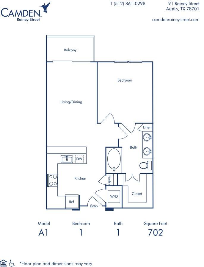 Studio 1 Bathroom Apartment for rent at Camden Rainey Street in Austin, TX