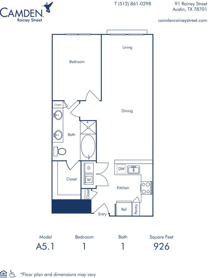 1 Bedroom 1 Bathroom Apartment for rent at Camden Rainey Street in Austin, TX