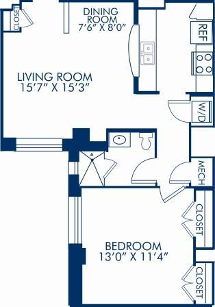 1 Bedroom 1 Bathroom Apartment for rent at Camden Roosevelt in Washington, DC