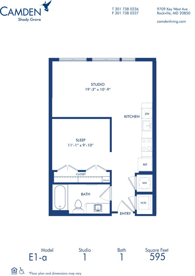 Studio 1 Bathroom Apartment for rent at Camden Shady Grove in Rockville, MD
