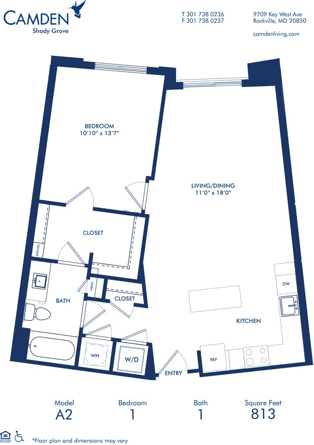 1 Bedroom 1 Bathroom Apartment for rent at Camden Shady Grove in Rockville, MD