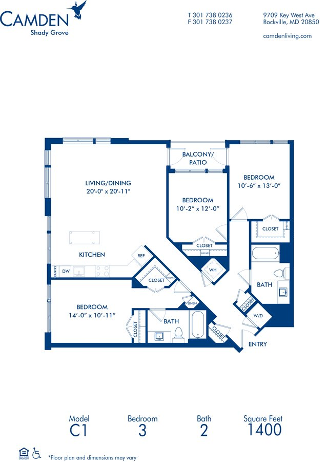 3 Bedrooms 2 Bathrooms Apartment for rent at Camden Shady Grove in Rockville, MD