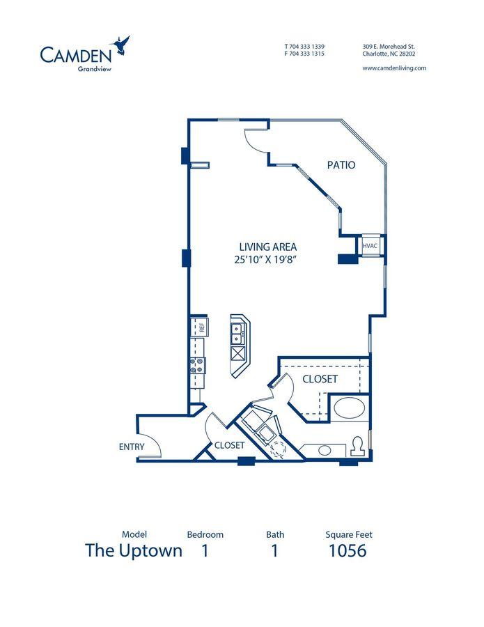 Studio 1 Bathroom Apartment for rent at Camden Grandview in Charlotte, NC