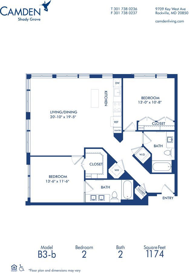 2 Bedrooms 2 Bathrooms Apartment for rent at Camden Shady Grove in Rockville, MD