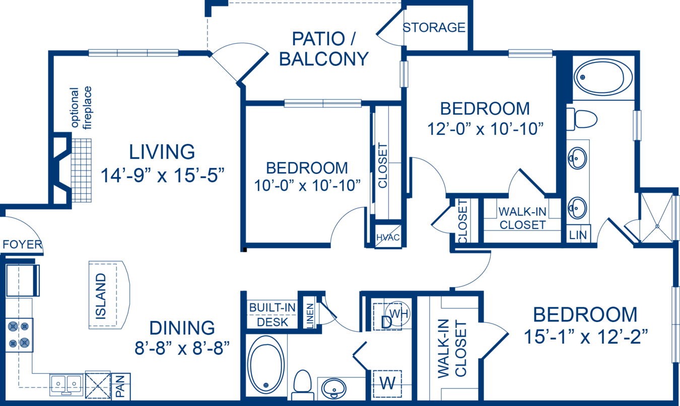 3 Bedrooms 2 Bathrooms Apartment for rent at Camden Asbury Village in Raleigh, NC