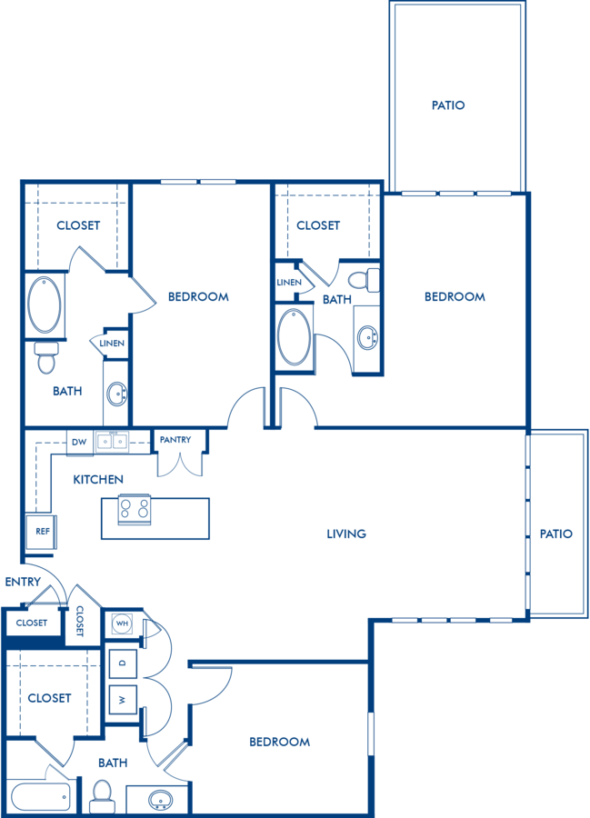 3 Bedrooms 3 Bathrooms Apartment for rent at Camden Henderson in Dallas, TX