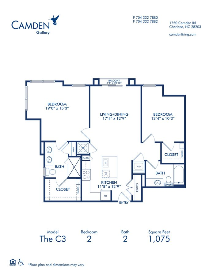 2 Bedrooms 2 Bathrooms Apartment for rent at Camden Gallery in Charlotte, NC