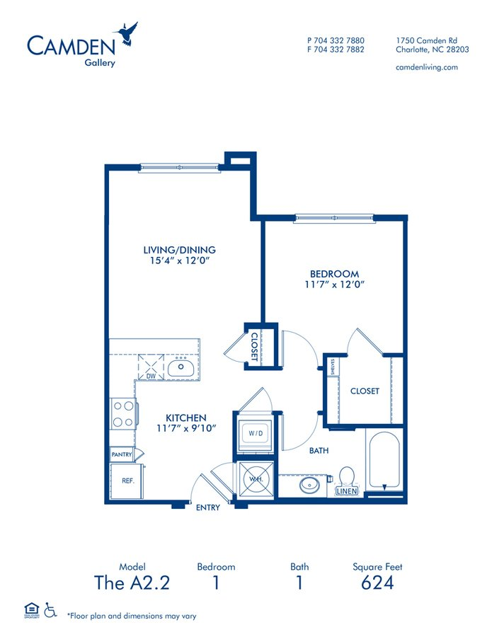 1 Bedroom 1 Bathroom Apartment for rent at Camden Gallery in Charlotte, NC