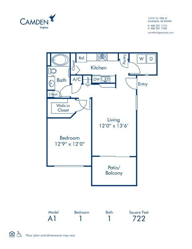 1 Bedroom 1 Bathroom Apartment for rent at Camden Legacy in Scottsdale, AZ