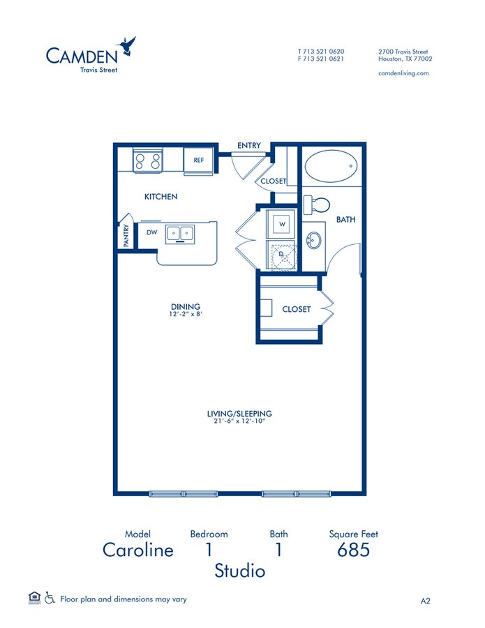 Studio 1 Bathroom Apartment for rent at Camden Travis Street in Houston, TX