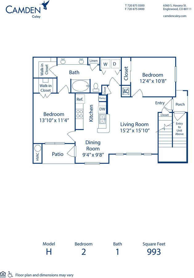 2 Bedrooms 1 Bathroom Apartment for rent at Camden Caley in Englewood, CO