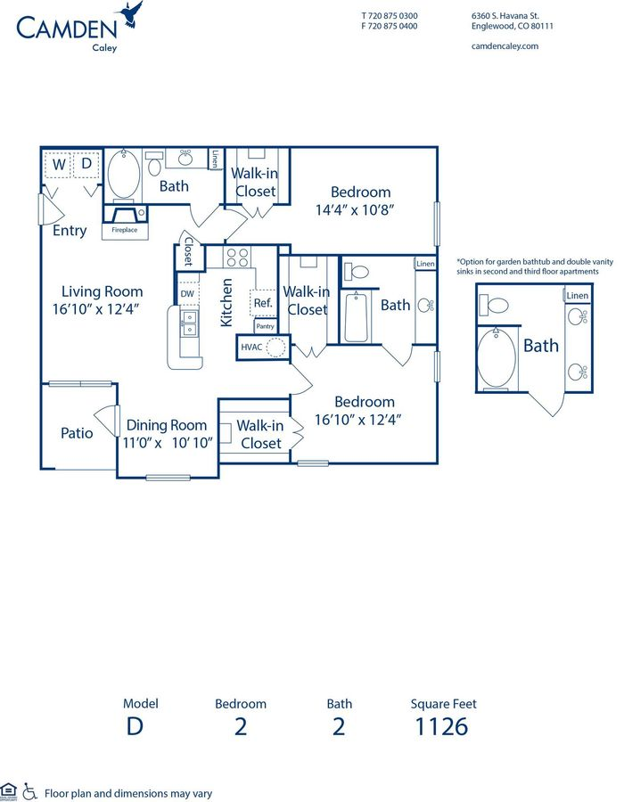 2 Bedrooms 2 Bathrooms Apartment for rent at Camden Caley in Englewood, CO