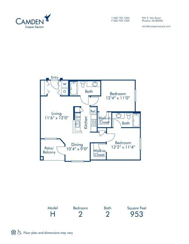 2 Bedrooms 2 Bathrooms Apartment for rent at Camden Copper Square in Phoenix, AZ