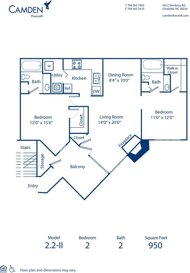 2 Bedrooms 2 Bathrooms Apartment for rent at Camden Foxcroft in Charlotte, NC