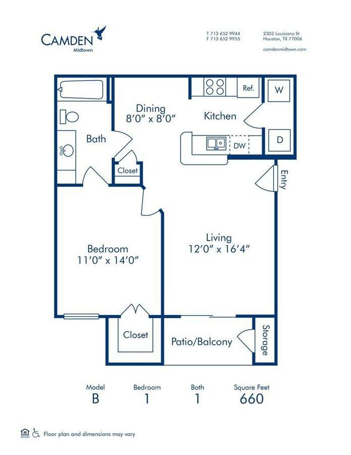 1 Bedroom 1 Bathroom Apartment for rent at Camden Midtown Houston in Houston, TX