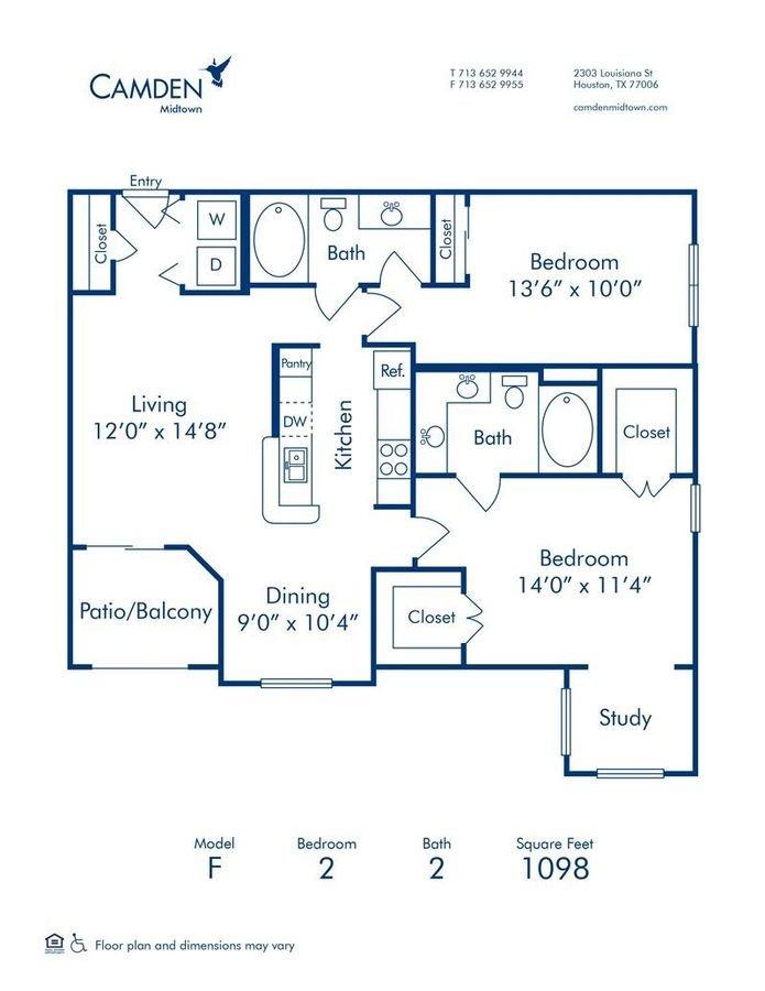 2 Bedrooms 2 Bathrooms Apartment for rent at Camden Midtown Houston in Houston, TX