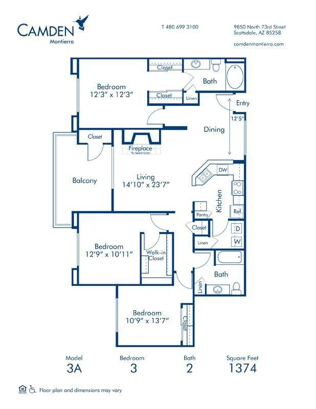 3 Bedrooms 2 Bathrooms Apartment for rent at Camden Montierra in Scottsdale, AZ