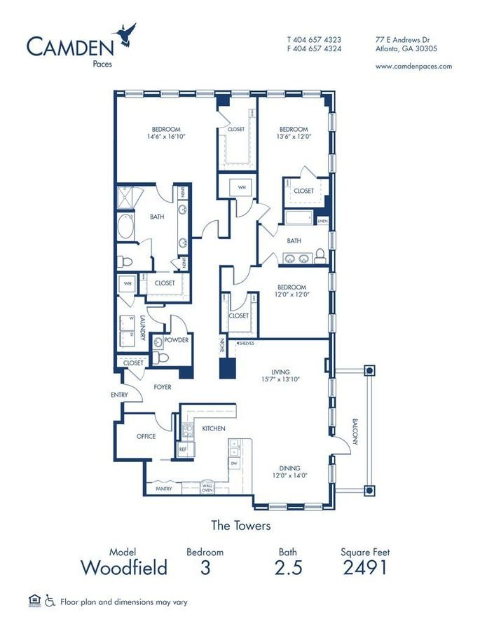 3 Bedrooms 2 Bathrooms Apartment for rent at Camden Paces in Atlanta, GA