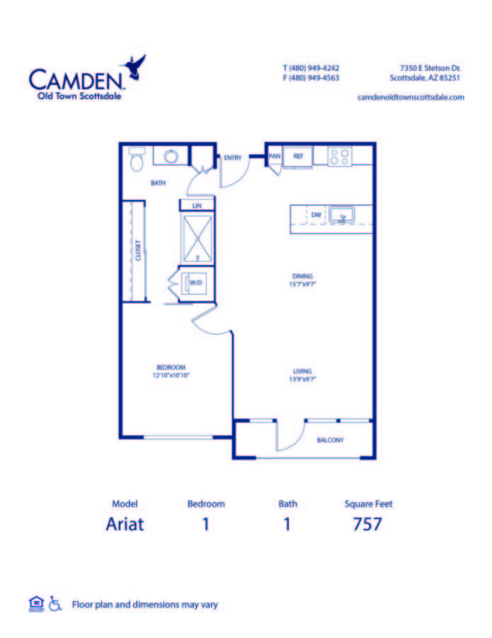 1 Bedroom 1 Bathroom Apartment for rent at Camden Old Town Scottsdale in Scottsdale, AZ