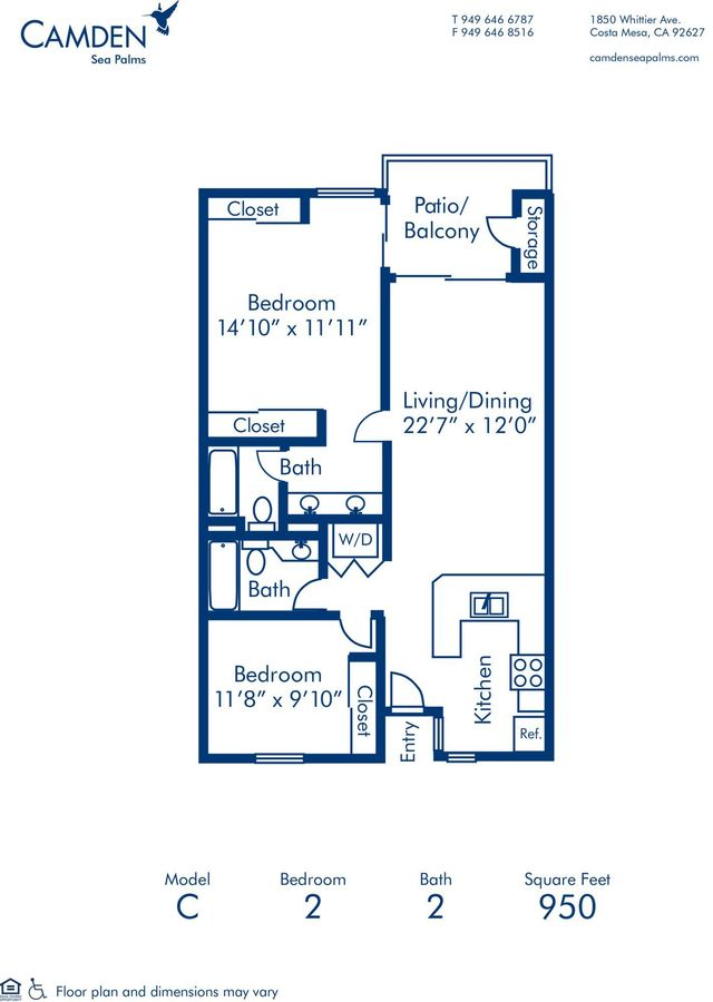 2 Bedrooms 2 Bathrooms Apartment for rent at Camden Sea Palms in Costa Mesa, CA