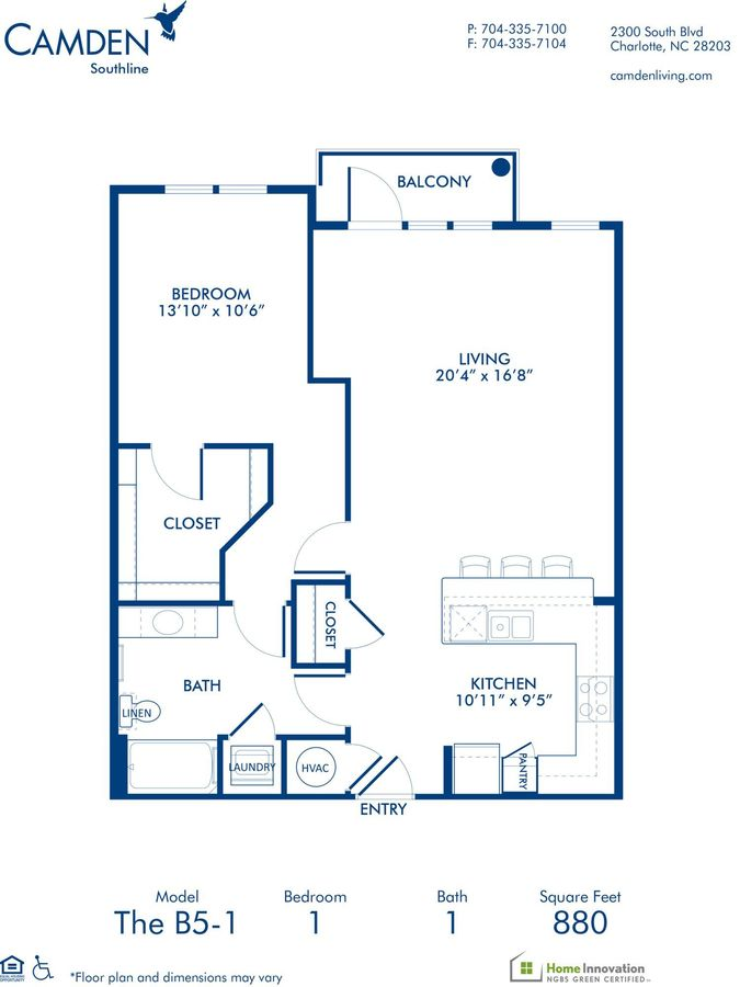 1 Bedroom 1 Bathroom Apartment for rent at Camden Southline in Charlotte, NC