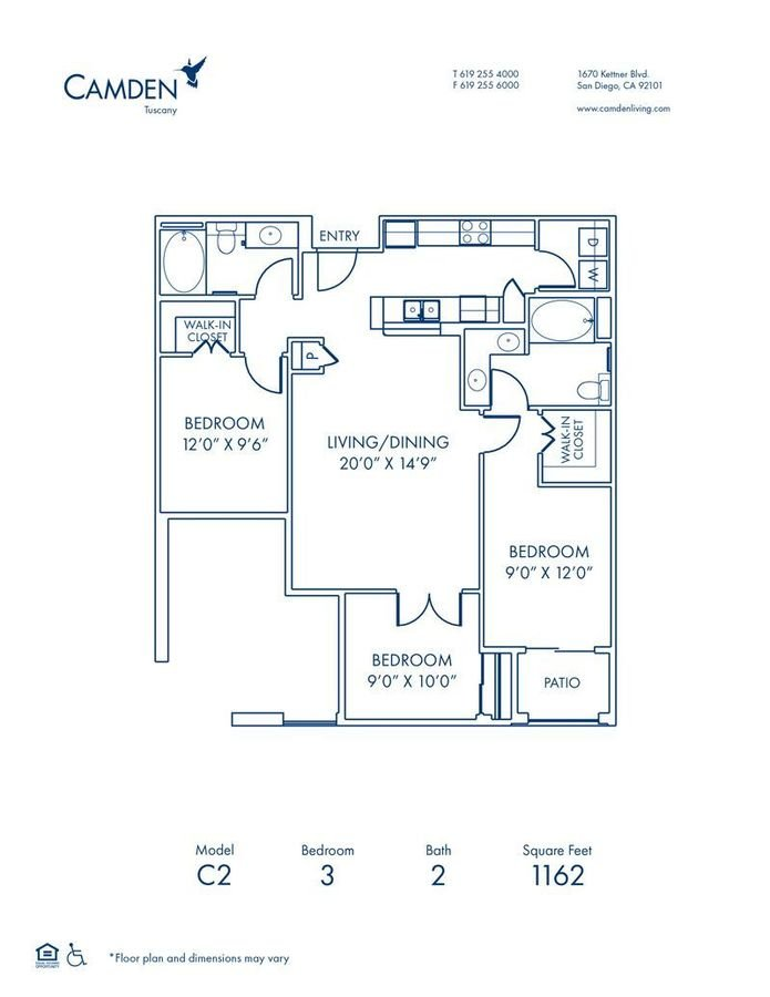 3 Bedrooms 2 Bathrooms Apartment for rent at Camden Tuscany in San Diego, CA