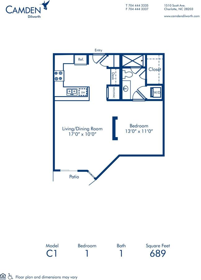 1 Bedroom 1 Bathroom Apartment for rent at Camden Dilworth in Charlotte, NC