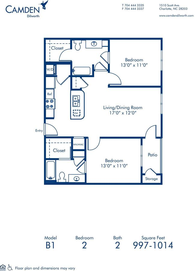 2 Bedrooms 2 Bathrooms Apartment for rent at Camden Dilworth in Charlotte, NC