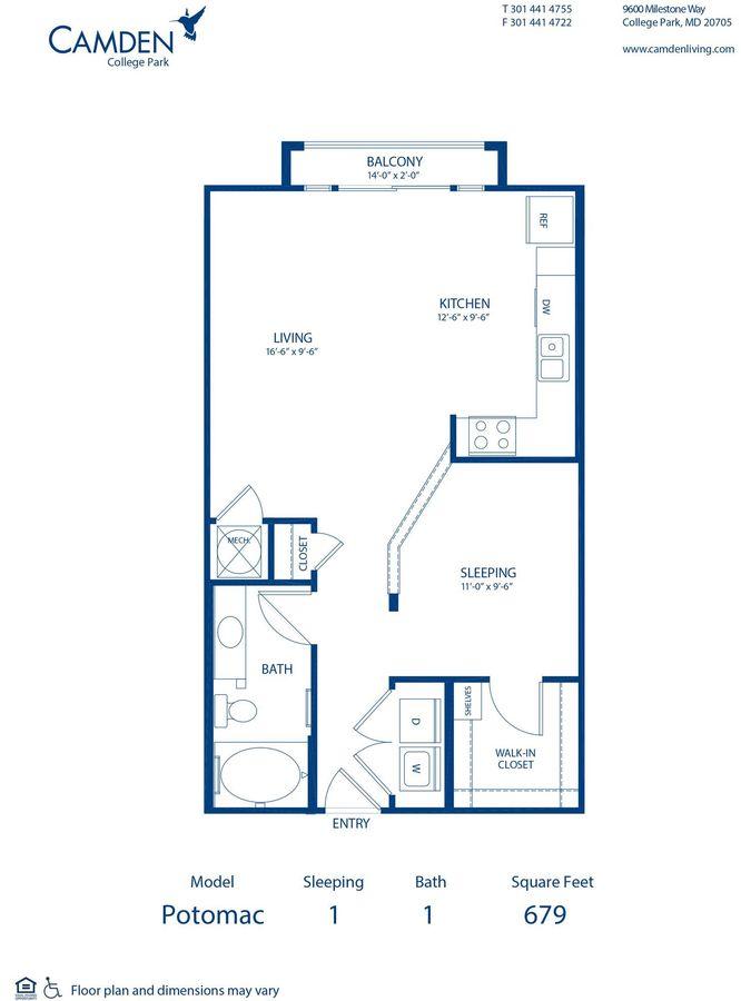 Studio 1 Bathroom Apartment for rent at Camden College Park in College Park, MD