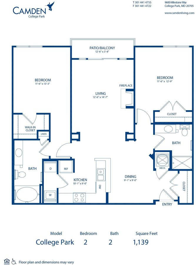 2 Bedrooms 2 Bathrooms Apartment for rent at Camden College Park in College Park, MD