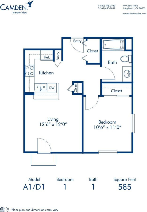 1 Bedroom 1 Bathroom Apartment for rent at Camden Harbor View in Long Beach, CA
