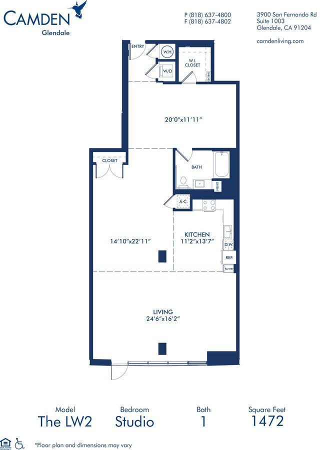 Studio 1 Bathroom Apartment for rent at Camden Glendale in Glendale, CA