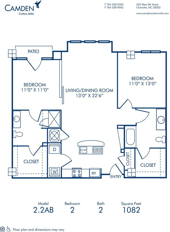 2 Bedrooms 2 Bathrooms Apartment for rent at Camden Cotton Mills in Charlotte, NC