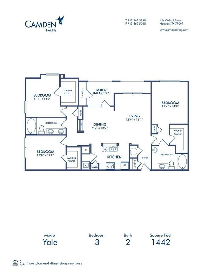 3 Bedrooms 2 Bathrooms Apartment for rent at Camden Heights in Houston, TX