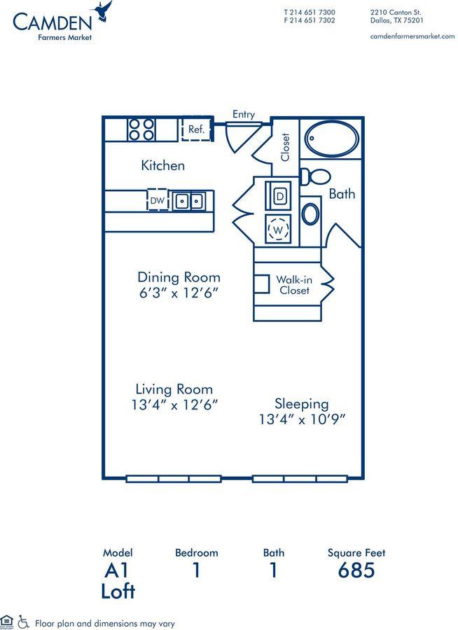 1 Bedroom 1 Bathroom Apartment for rent at Camden Farmers Market in Dallas, TX