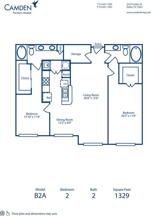 2 Bedrooms 2 Bathrooms Apartment for rent at Camden Farmers Market in Dallas, TX